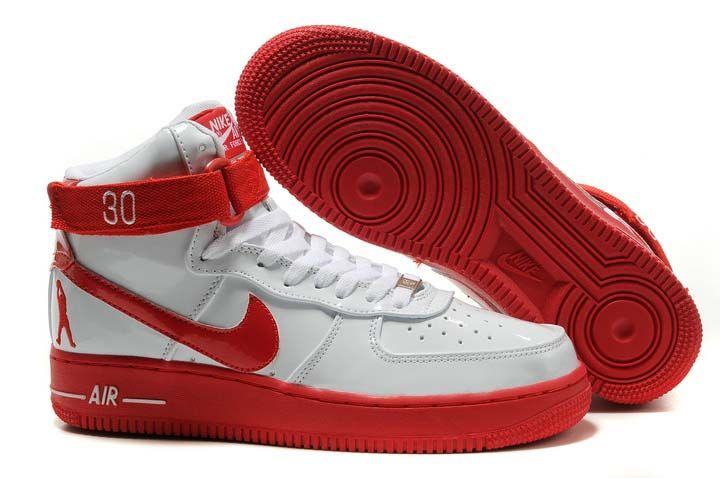 Nike Air Force 1 High Sheed Patent White Red Mens Shoes  2772e6a3e