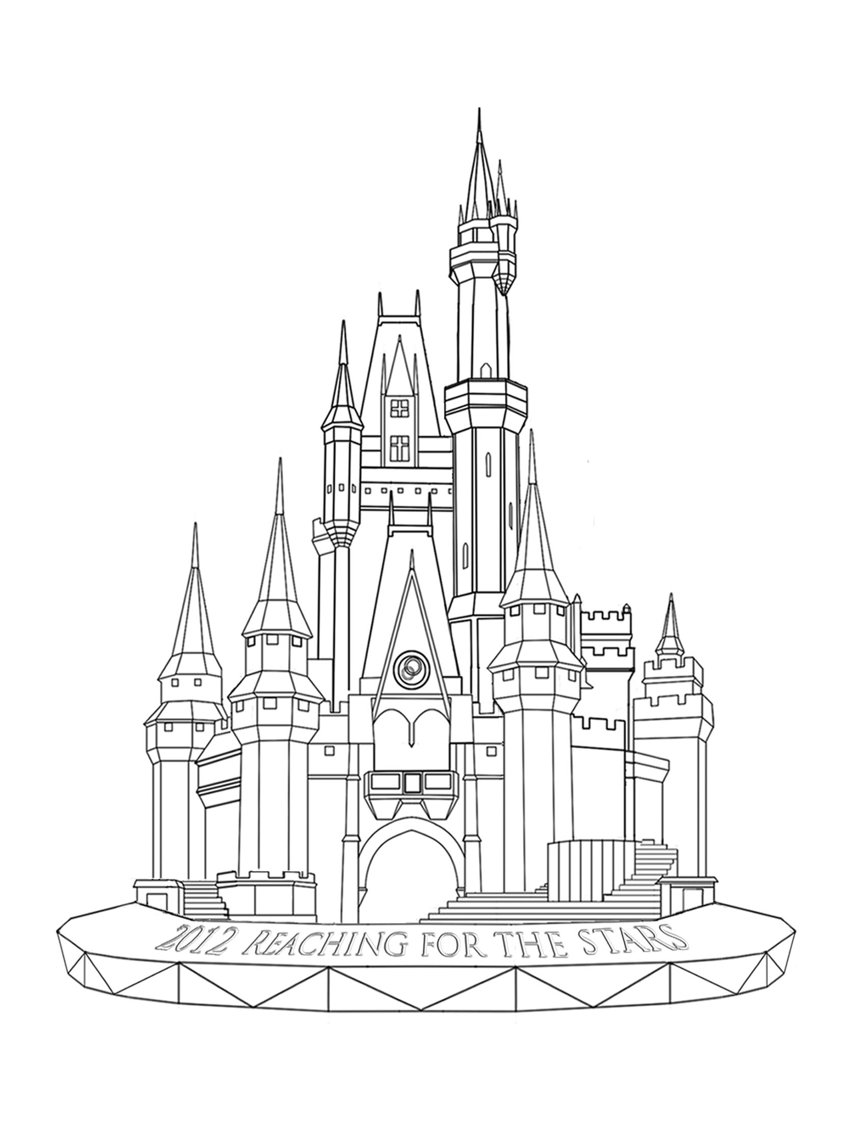 Production nana sketches drawing and coloring for kids for Cinderella castle coloring pages
