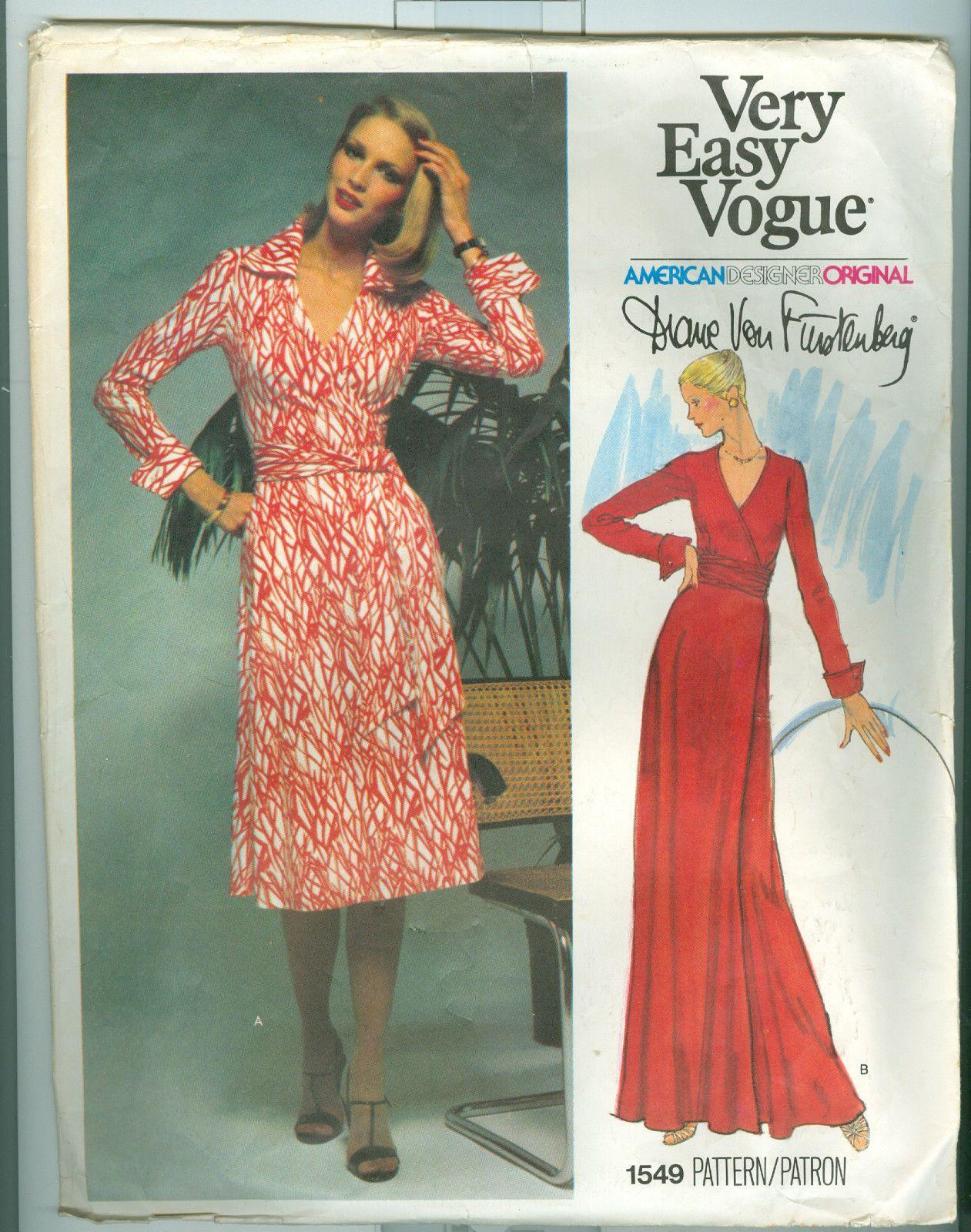 Diane Von Furstenberg ~ 1970\'s The Classic Wrap Dress Vogue 1549 ...