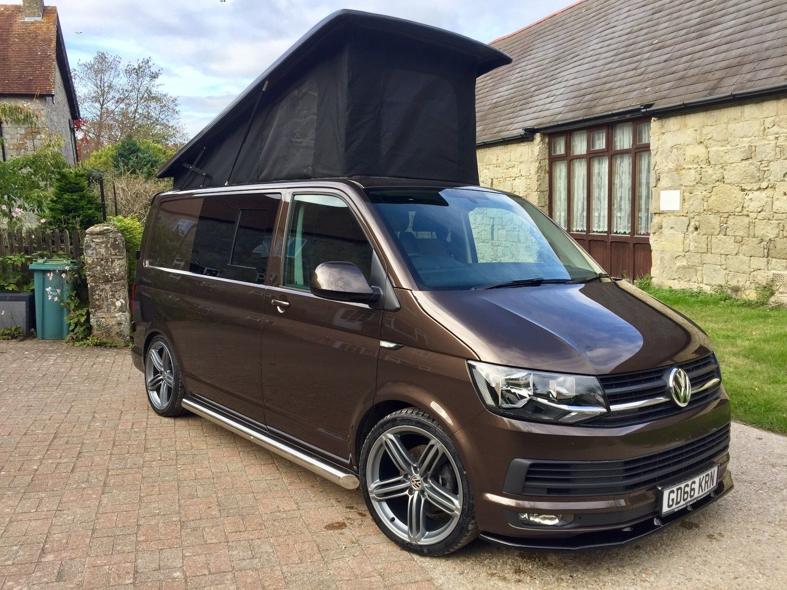 ebay 2017 vw t6 camper highline pop top 11k brown met t5. Black Bedroom Furniture Sets. Home Design Ideas