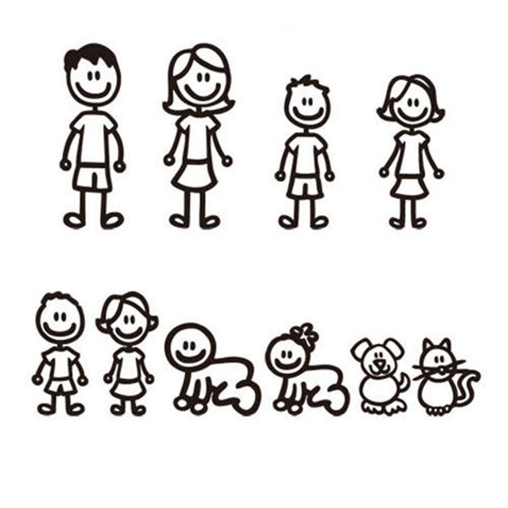 036 12 00 036 11 00free Shipping 10pcs Fashion Stick Figure My Family Car Stickers With Pet Car De Family Car Stickers Stick Figure Family Car Stickers [ jpg ]