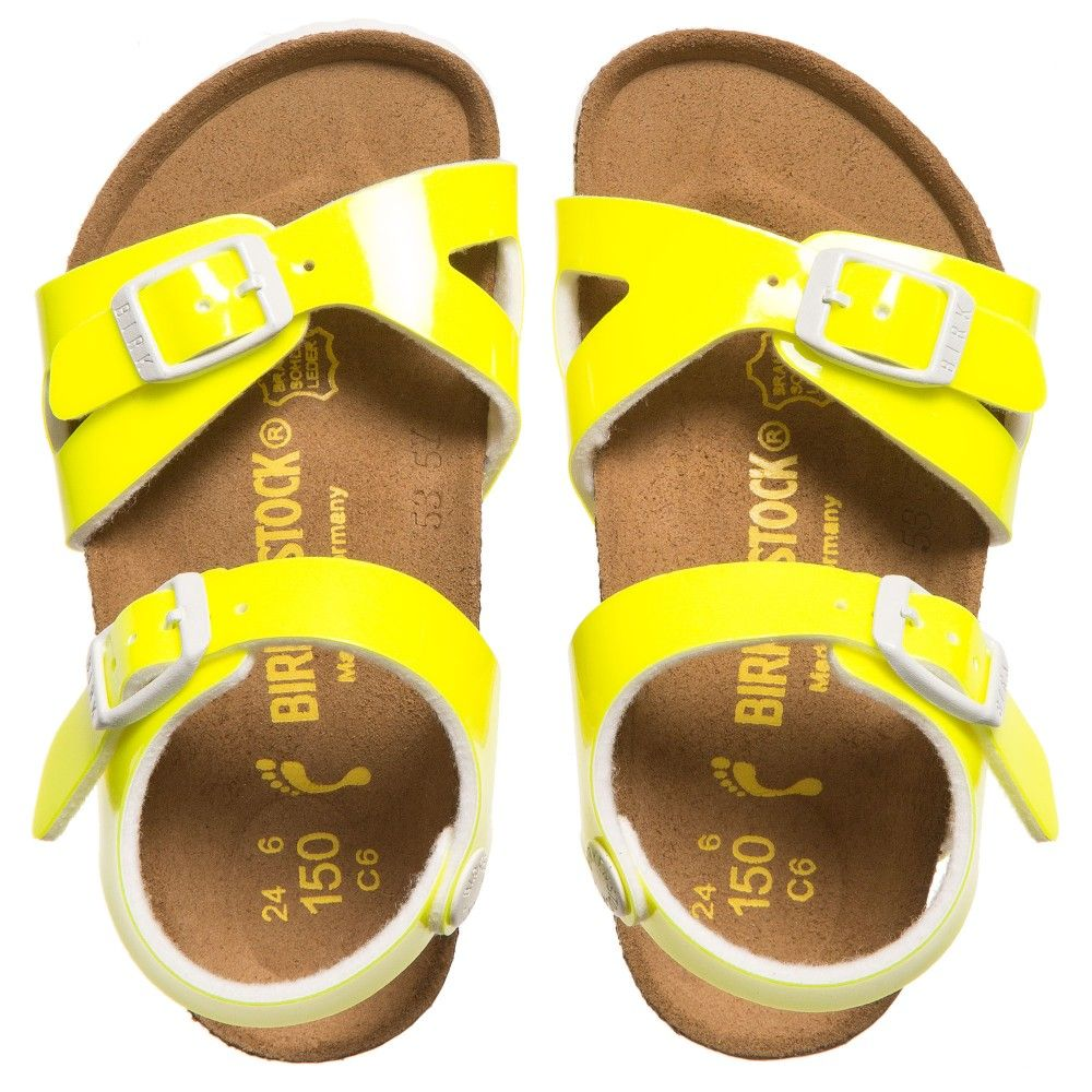 1e1fe8ee8472 BIRKENSTOCK Girls Neon Yellow  Rio  Sandals