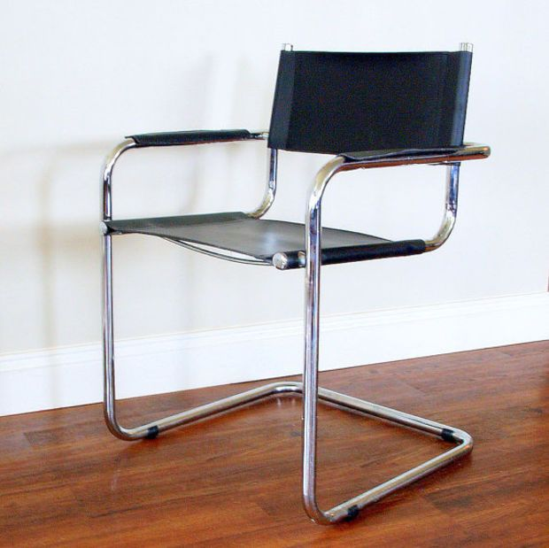 leather chrome chair kids bean bag chairs modern vintage black cantilever tubular steel frame desk dining office living room armchair mid century furniture