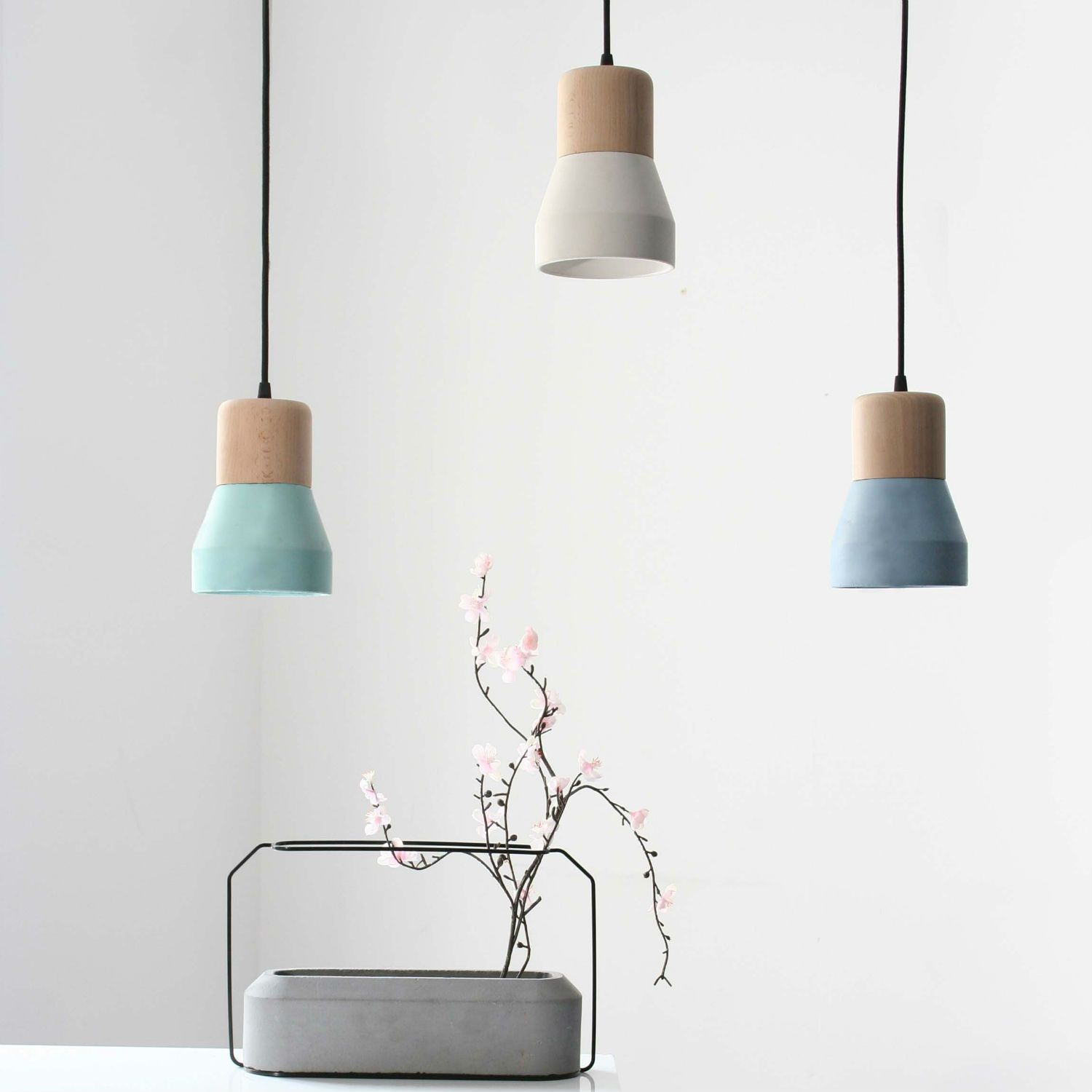 Suspensions Scandinaves Suspensions Bois De Hêtre Béton Style Scandinave Design