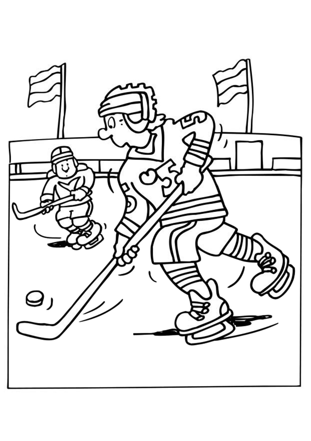 Trying To Get Past The Opponent Hockey Sports Coloring Pages