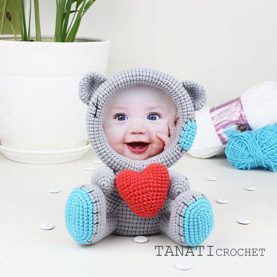 Crochet Pattern of Photo Frame Loving BEAR (Tutorial, PDF file ...