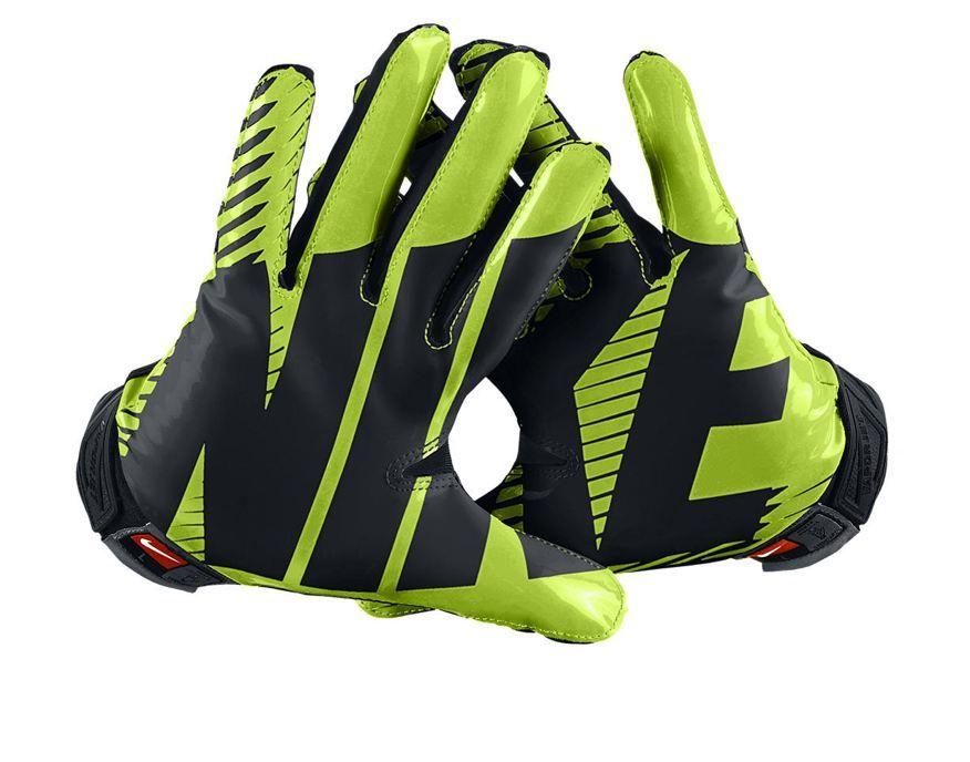 lime green nike football gloves