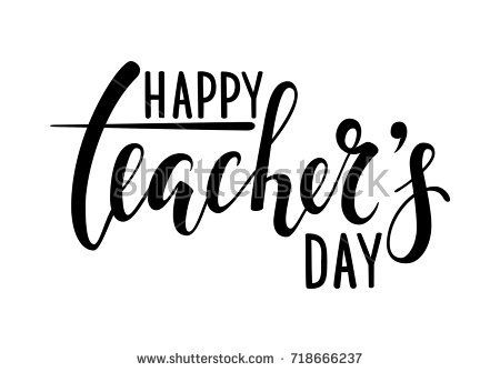 Happy Teacher S Day Hand Drawn Brush Pen Lettering Isolated On