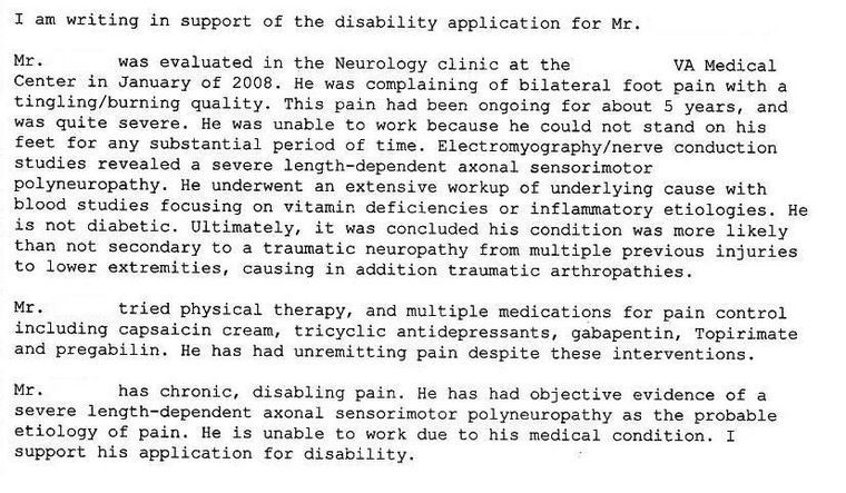 Sample Disability Letter From Doctor Peripheral Neuropathy Neuropathy Disability
