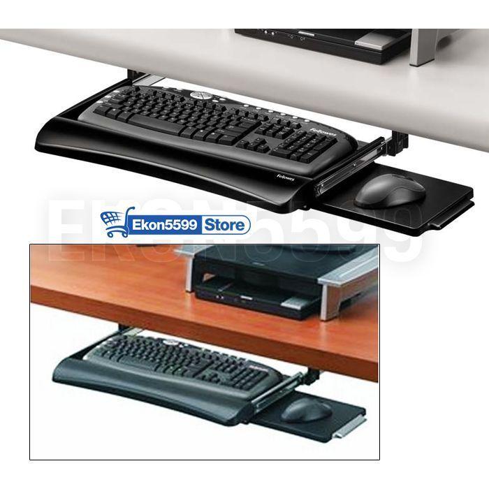Keyboard Tray Slides Under Desk Shelf Sliding Drawer Undercounter Pc Computer Fellowes Desk Shelves Office Suite