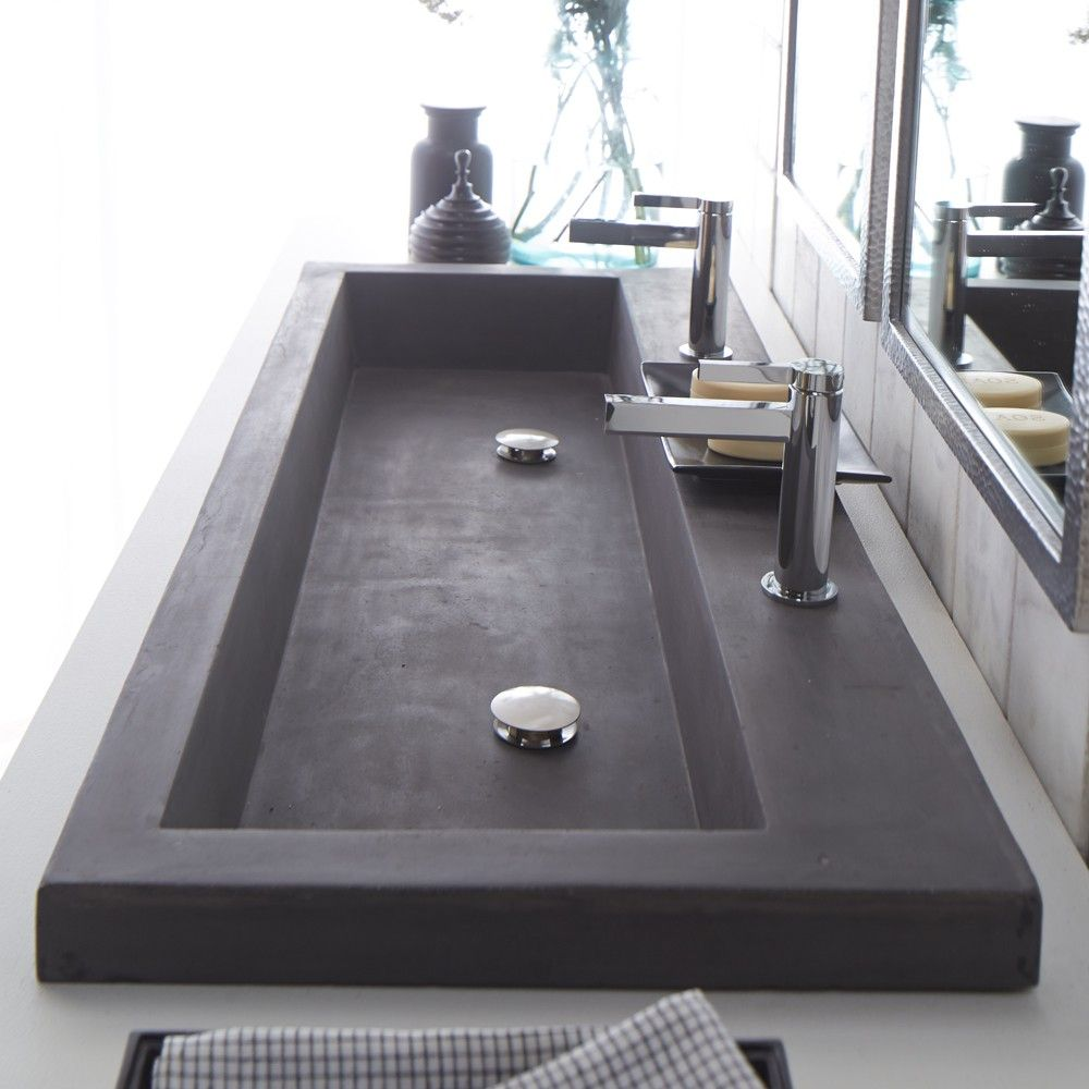 Modern trough sink instead of double vanities maybe do for Bathroom ideas double sink