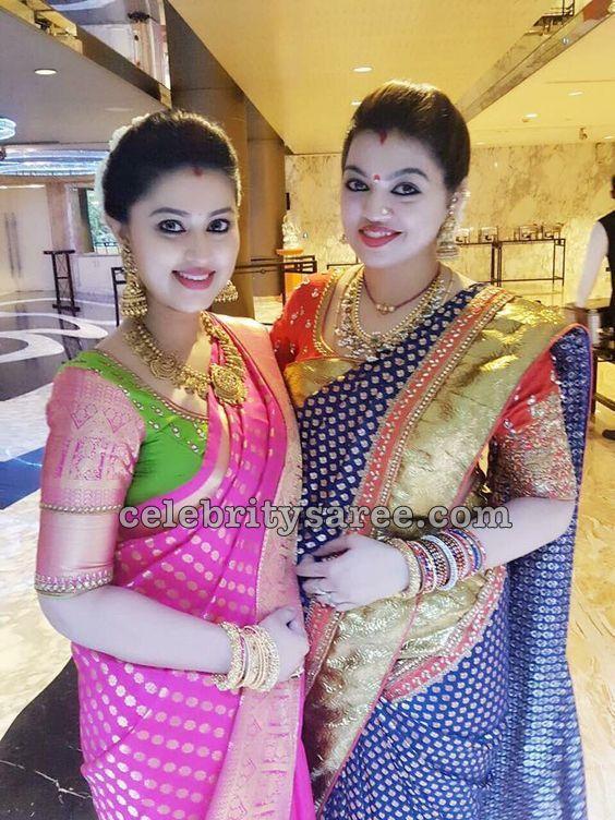 5f3eb0650d Sneha Sangeetha Benaras Saris | Jewellery | Blouse designs, Saree ...