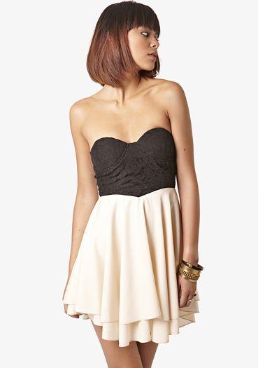 Beige Lace Corset Bustier Dress