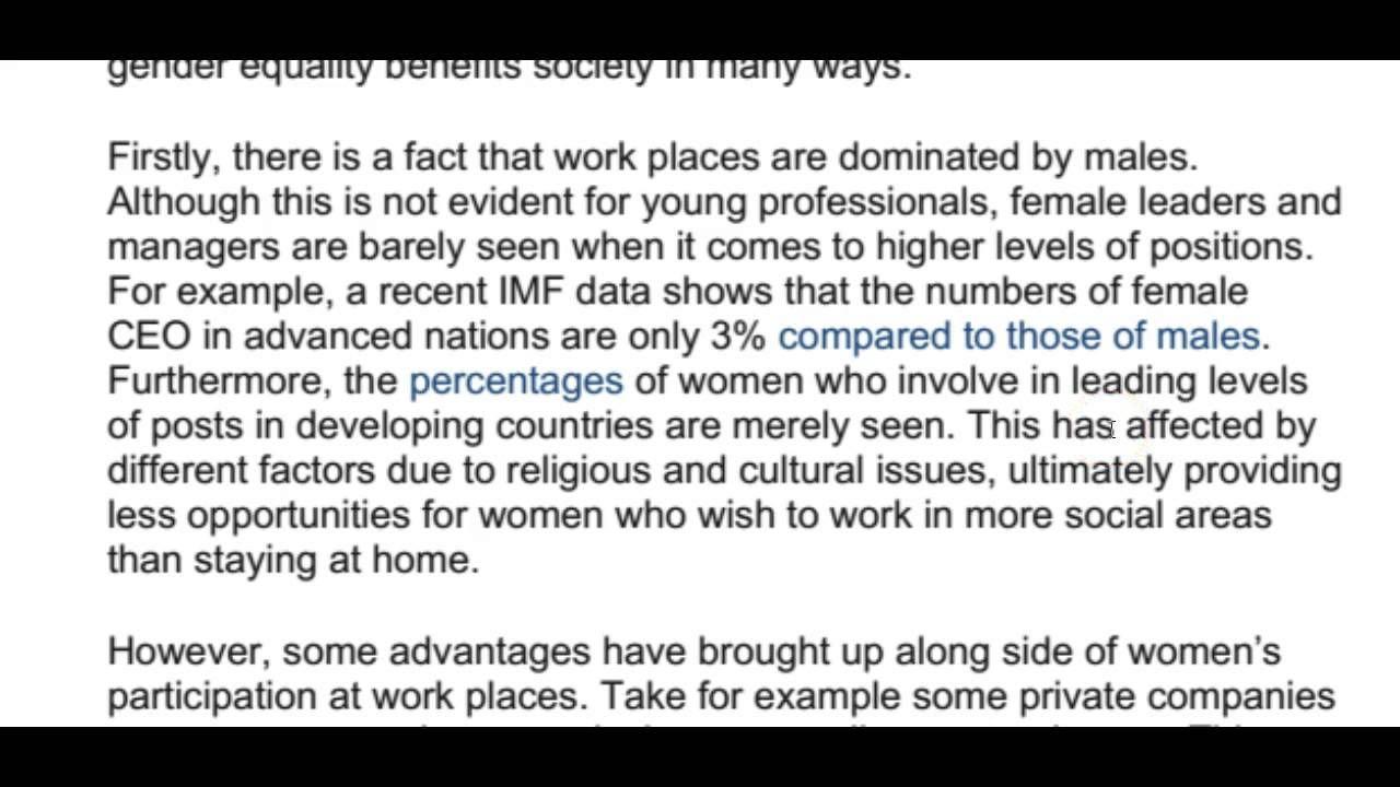 Ielt Essay Correction Male Female Gender Equality Learn From Thi Video Here Ieltspodcast Ieltsessaycorrectio Ielts