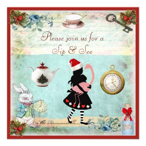 festive sip & see alice & flamingo baby shower card | babies, Baby shower invitations