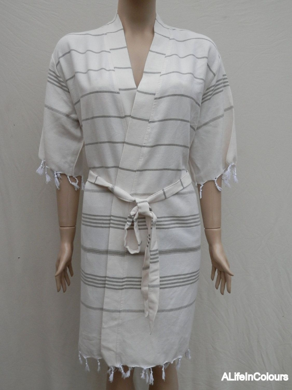 Women\'s dark green striped light weight cotton kimono bathrobe ...
