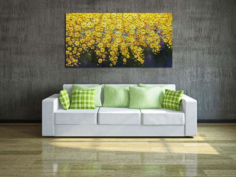 Amazon Com V Inspire Art 24x48 Inch Oil Paintings On Canvas Brilliant Flowers Art 100 Hand Painted Ab Floral Wall Art Wall Art Living Room Wall Art Entryway Amazon paintings for living room