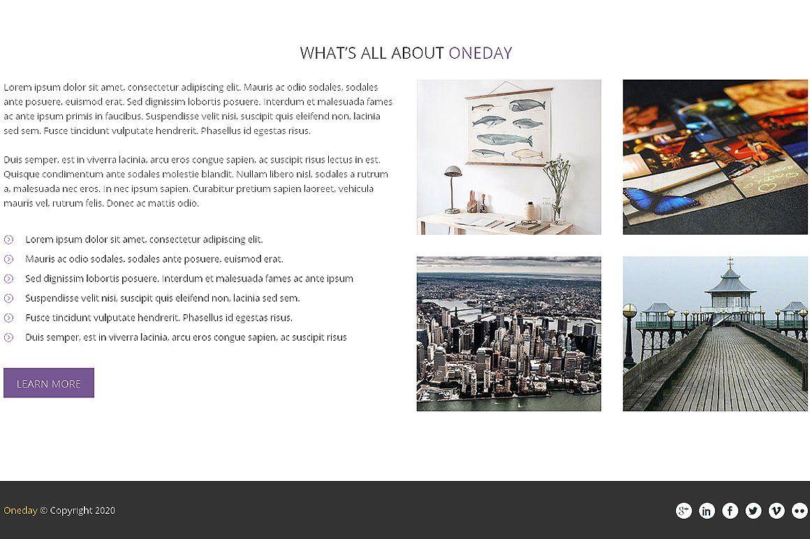 Oneday Responsive Bootstrap Template ReadyVectorRetina