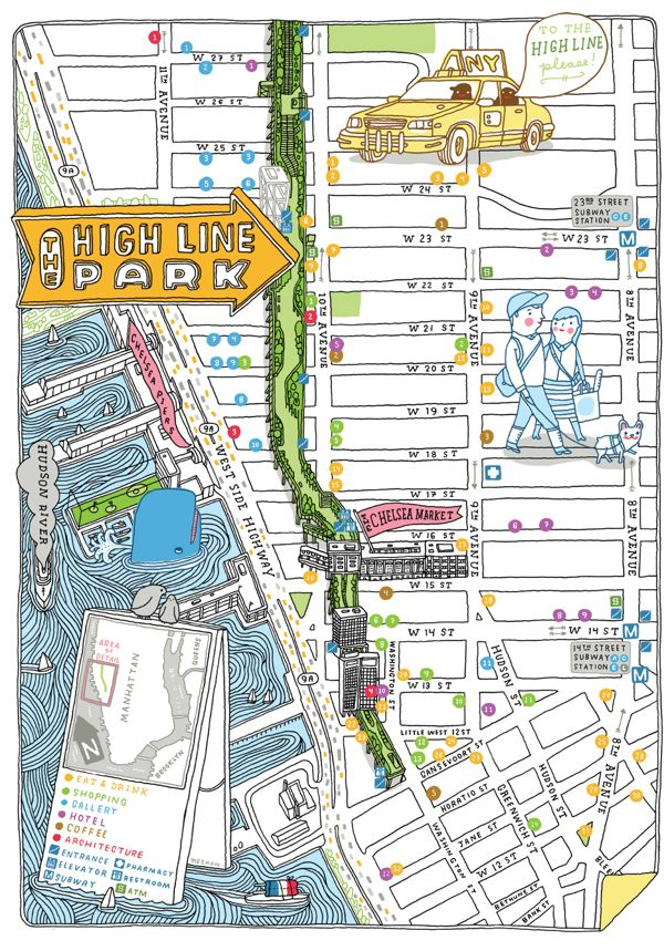 Highline Park Map HIGH LINE map NYC by Aaron Meshon | Finding More Happiness | New