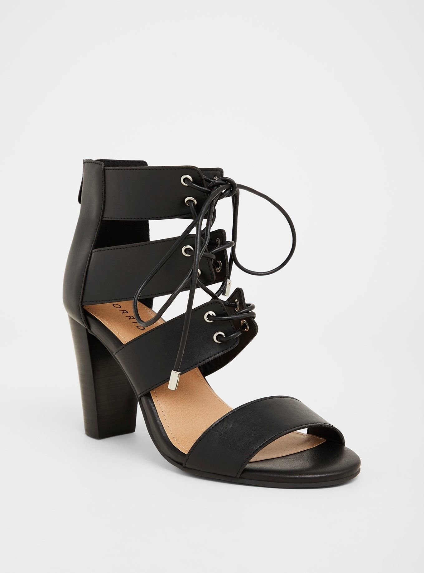 19755cb1b55e Black Cage Heel Sandal (Wide Width) - Cutout straps and lace-up ties add  edge to a buttery soft faux leather heel sandal.