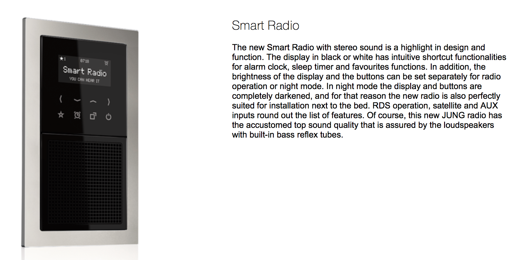 JUNG Smart radio, Technology for Hotel, Door communication ...