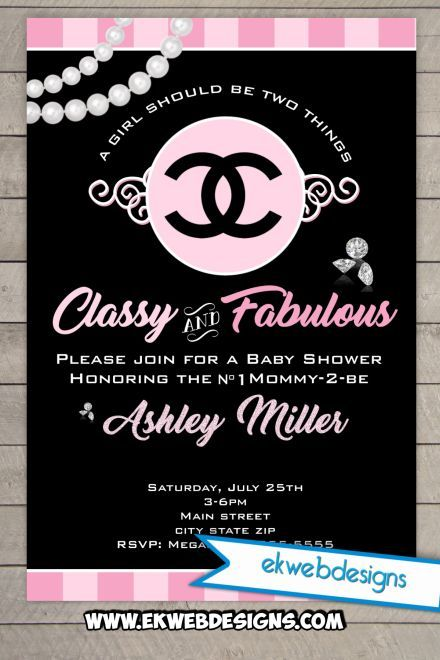 Coco Chanel Baby Shower Invitation Mademoiselle Its A Girl Baby