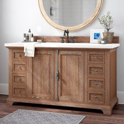 Darby Home Co Belhaven 60 Single Driftwood Bathroom Vanity Set Top Thickness 3cm Top Finish Snow White Driftwood Bathroom Vanity Set Single Bathroom Vanity