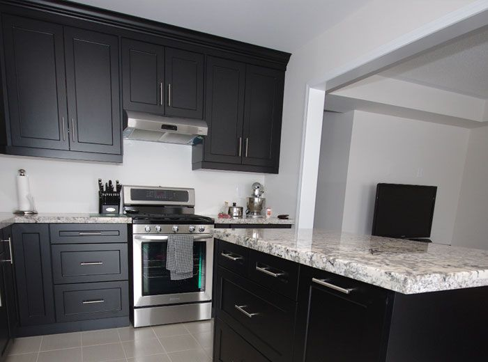 Custom Kitchen Cabinets In Black Thermo Laminated Mdf With Shaker Style Doors