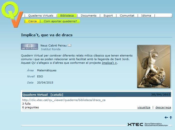 Quadern virtual Implica't, que va de dracs https://sites.google.com/a/xtec.cat/implicat-sant-jordi/qv-va-de-dracs