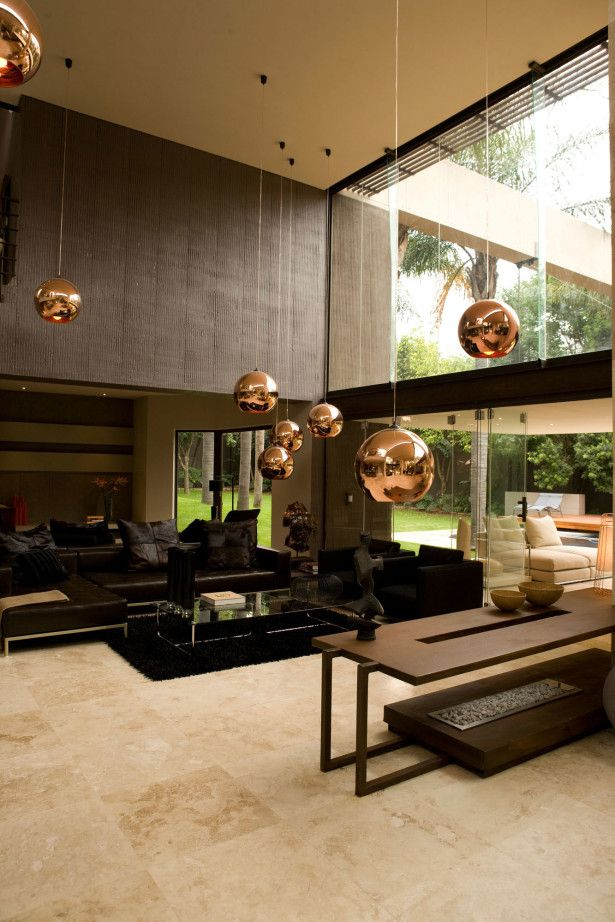 Architecture, Enchanting Modern Villa In South Africa By Nico Van Der Meulen Featuring Interior Design In Living Room With Sectional Sofa, Marble Floor And Pendant Lamp: Astonishing Contemporary Home Design with Modern Interior Design