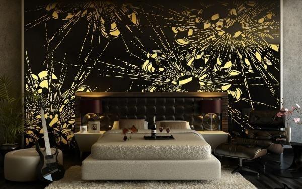 deco-chambre-adulte-papier-peint-grand-lit-repose-pieds-ottoman-rond