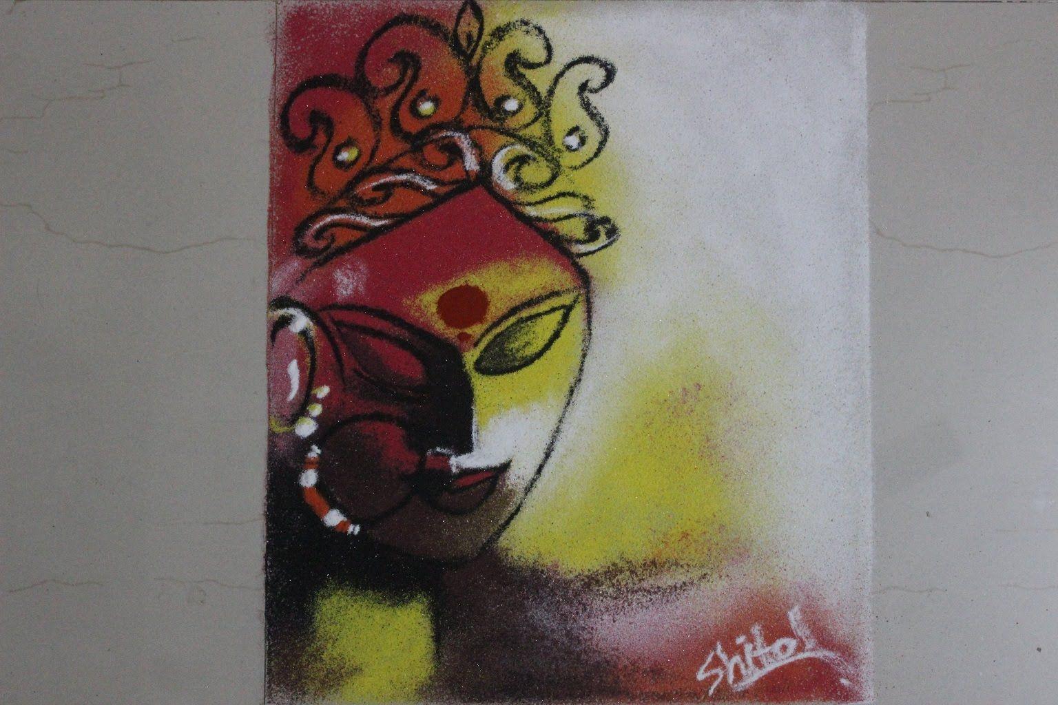 Poster design rangoli - Poster Rangoli Design How To Draw The Goddess Durga In Rangoli Rangoli Pinterest Rangoli Designs