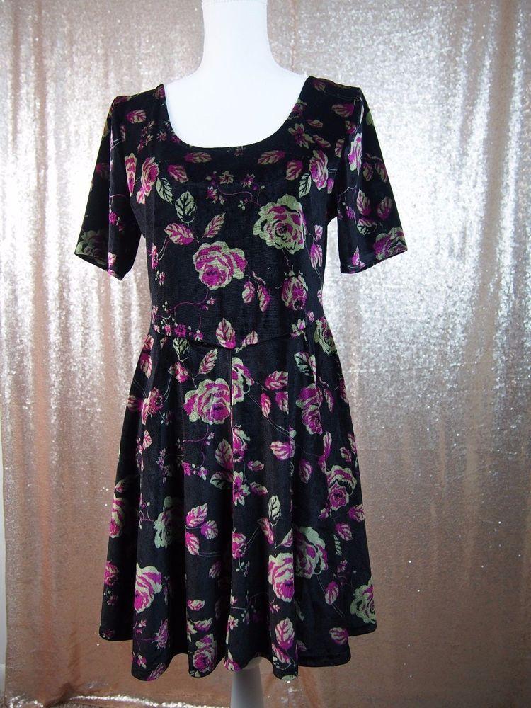 Takeout Womens Floral Print Velvet Skater Dress Half sleeve Lace Back  | eBay