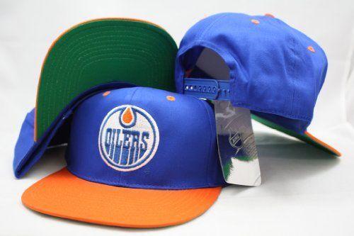 Edmonton Oilers Snapback Big Logo Blue   Orange Two Tone Adjustable Plastic  Snap Back Hat   0e2e09c5675c