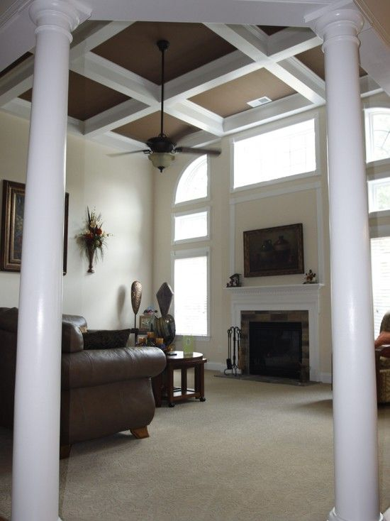 Dark Painted Coffered Ceiling Design Pictures Remodel Decor And Ideas Traditional Family Rooms Coffered Ceiling Design Dining Room Ceiling