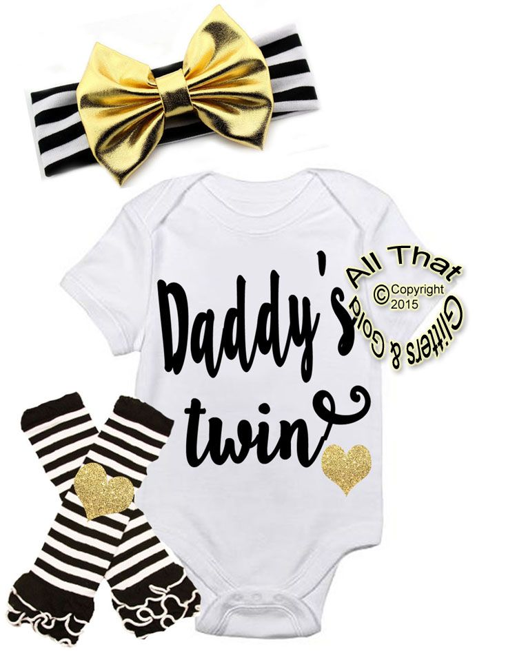 361fe803855c4 Black and Gold Daddy's Twin First Outfit For Baby Girl | Mali Faye ...