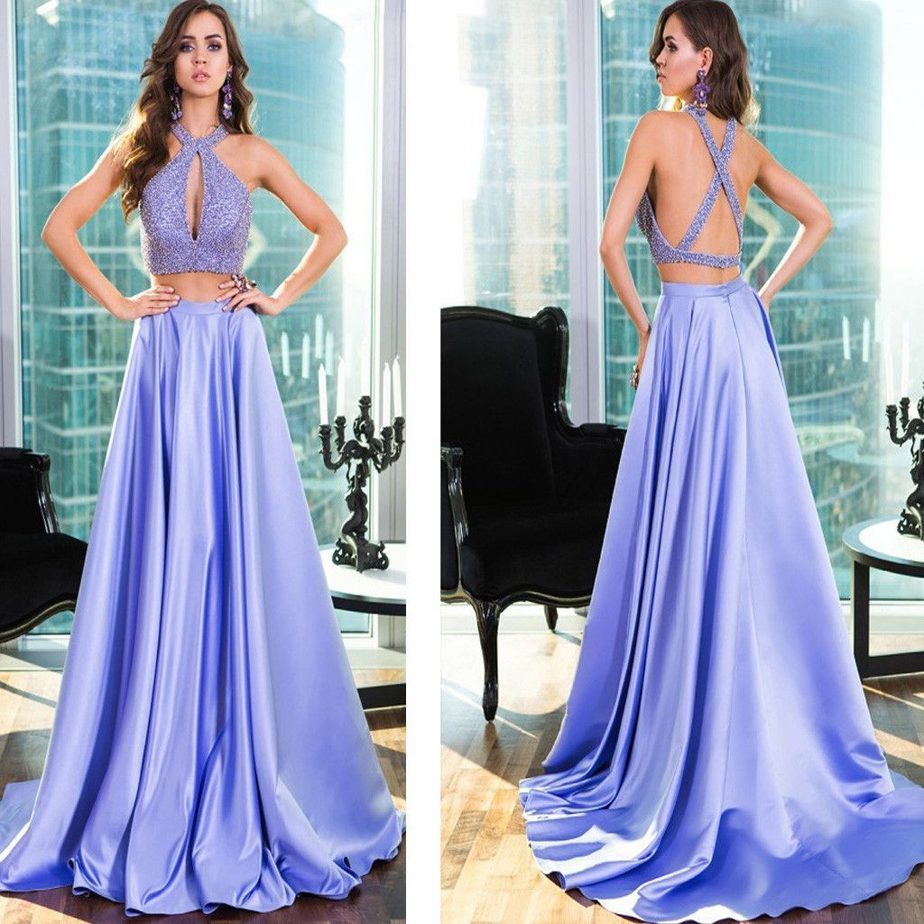 Lavender two pieces ball gown halter beaded unique open back