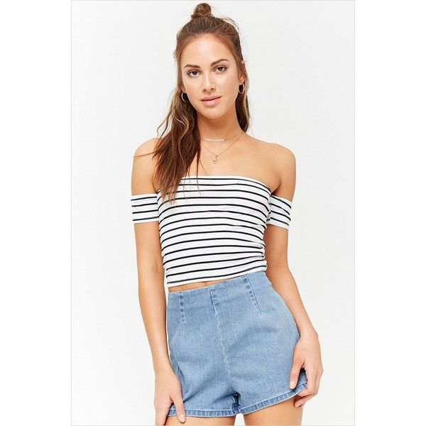 6877aff0eef Forever 21 Stripe Off-the-Shoulder Crop Top White/black ($7.90) ❤ liked on  Polyvore featuring tops, crop tops, striped off the shoulder top, striped  top, ...