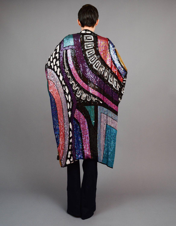 9d84f1c36e3 Vintage 80s Silk Sequin Beaded Kimono 1980s Color Block Art Deco Striped  Oversize Draped Jacket shop    pompomvintage