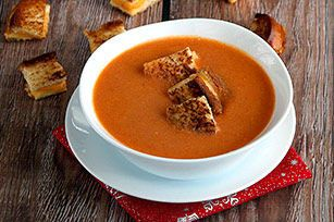 Slow-Cooker Tomato Soup with Grilled Cheese Croutons Recipe