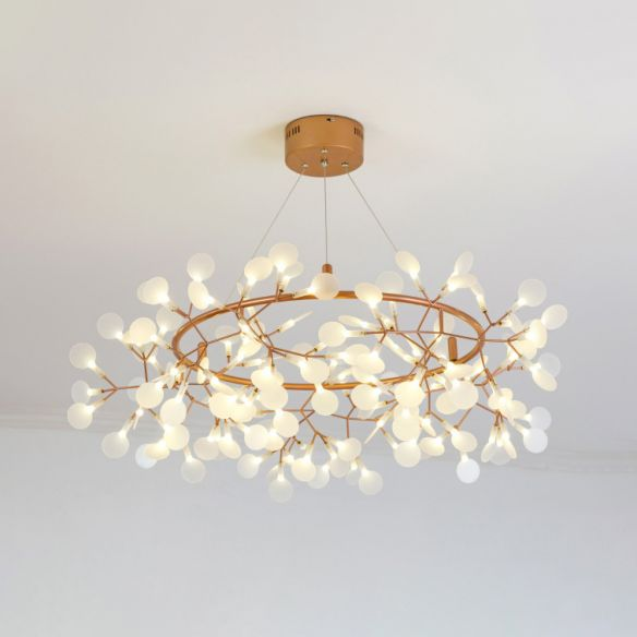 Branch Chandelier Light Fixture With Leaf Deco Modern Style Acrylic And Metal 81 Lights Gold Hanging Lamp In 2020 Led Chandelier Branch Chandelier Led Pendant Lights