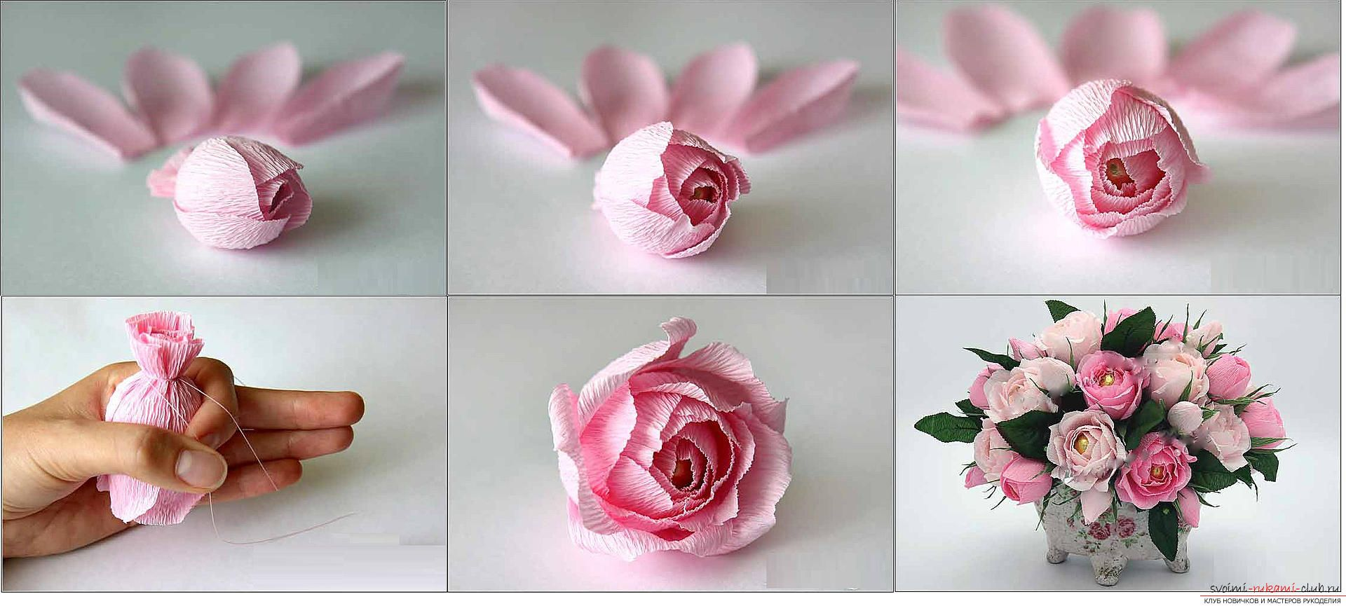 Пошаговая инструкция роз из гофрированной бумаги