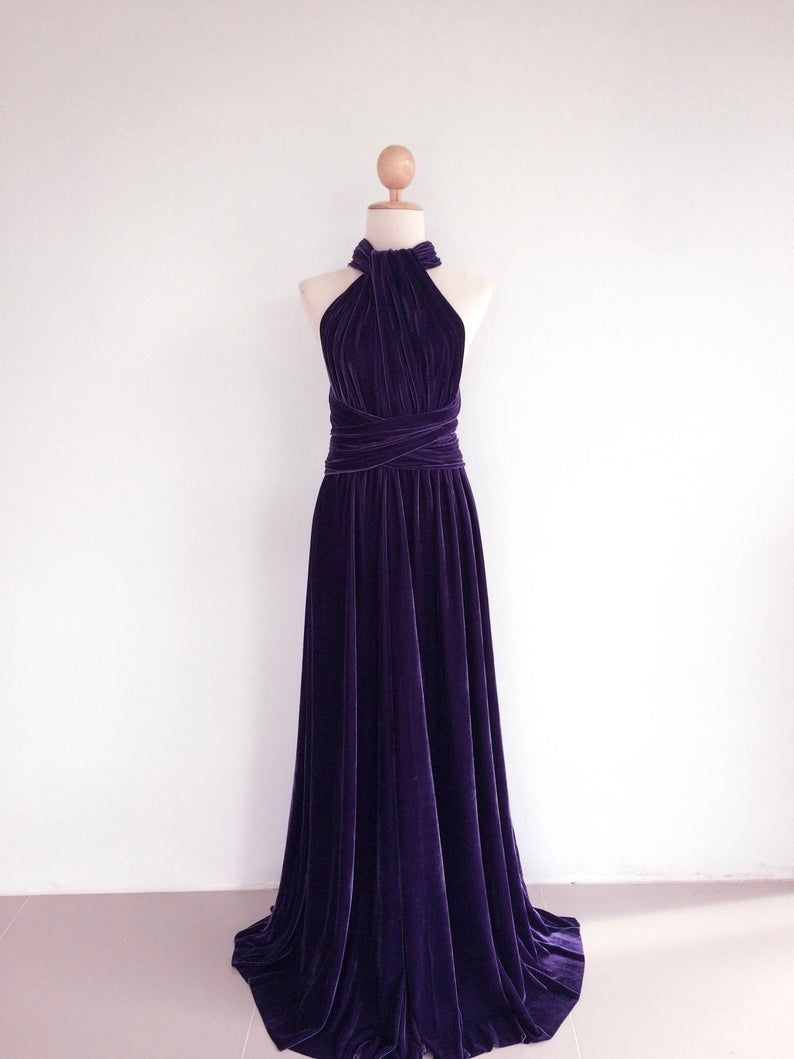 Purple Velvet Dress Bridesmaid Dress Infinity Dress Prom Dress Etsy Purple Velvet Dress Convertible Bridesmaid Dress Bridesmaid Dresses [ 1059 x 794 Pixel ]