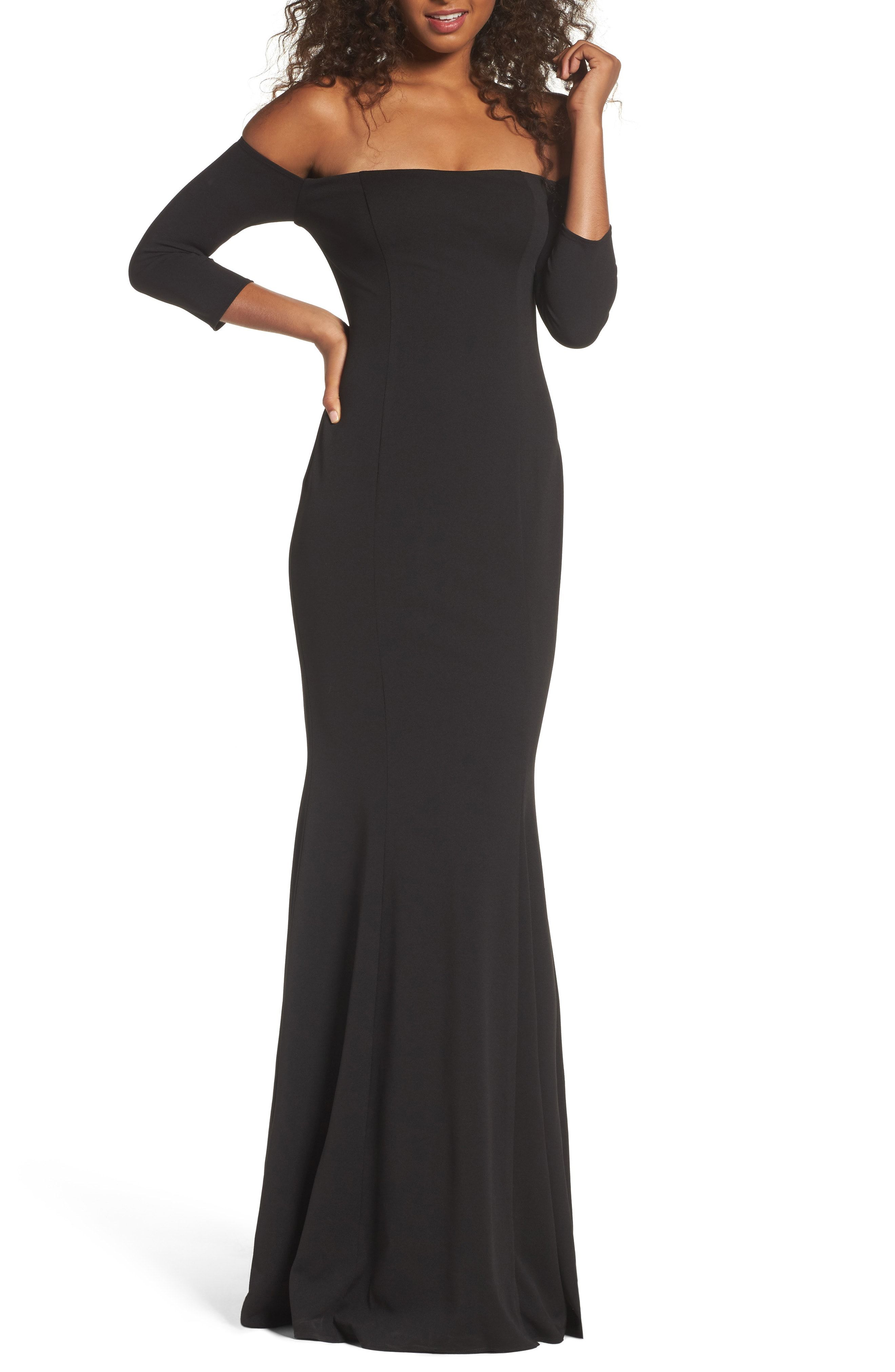 Black lace dress 3/4 sleeve may 2019 Katie May Brentwood ThreeQuarter Sleeve Off the Shoulder Gown