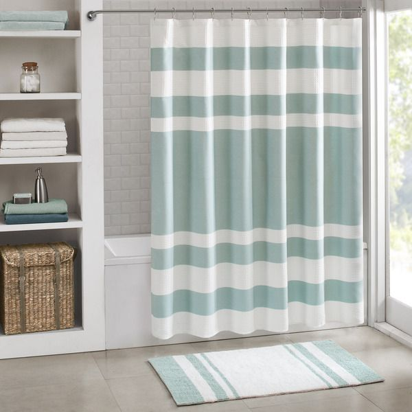 This rich taupe pieced shower curtain with a white waffle weave ...