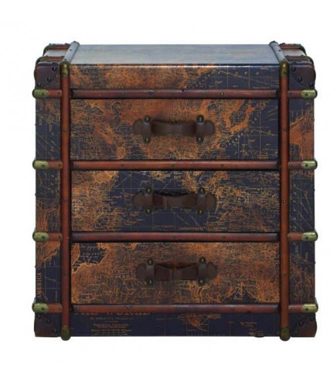 Map of the World Accent Table Trunk Chest