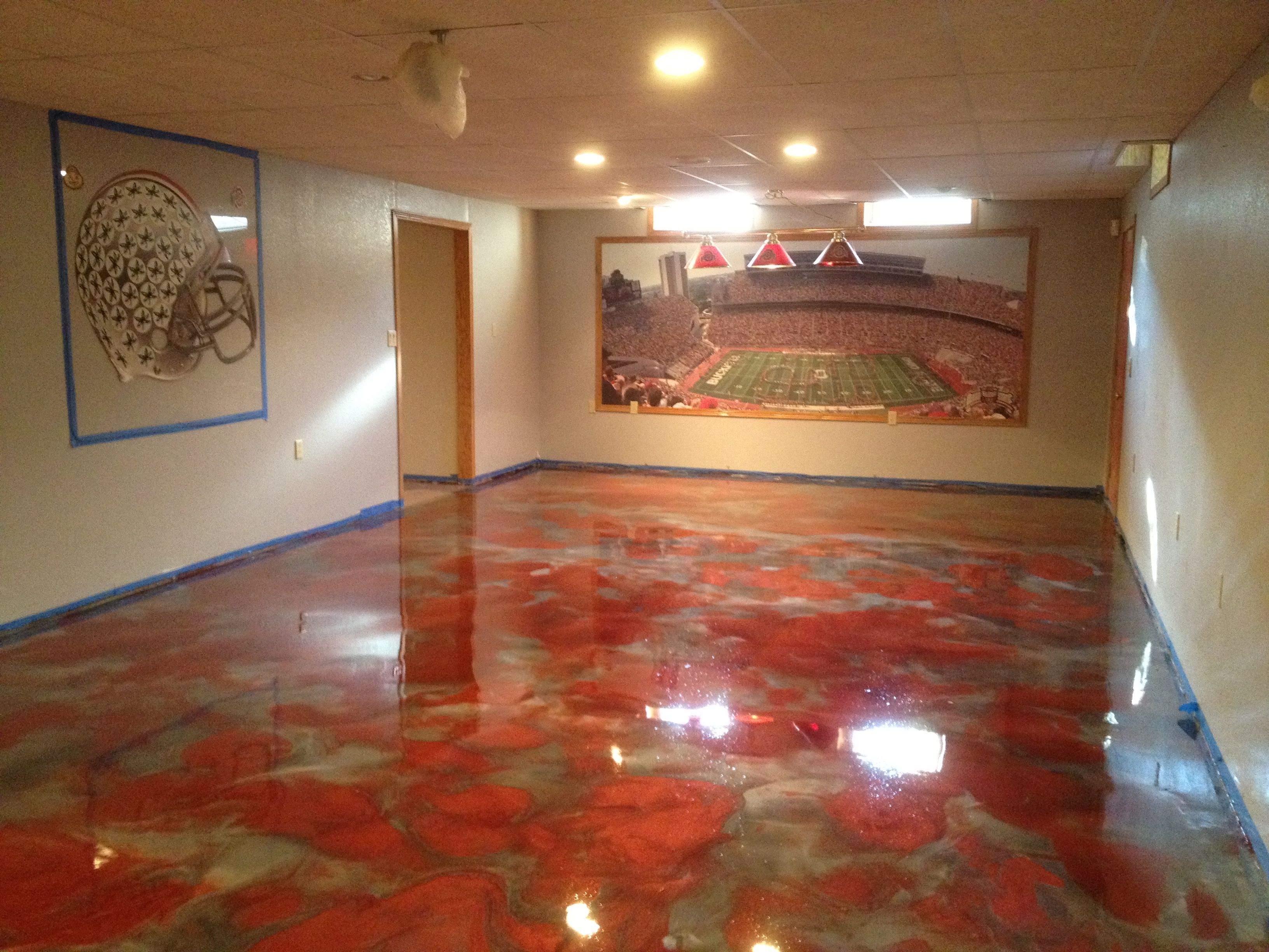 basement columbus ohio epoxy concrete flooring metallic epoxy