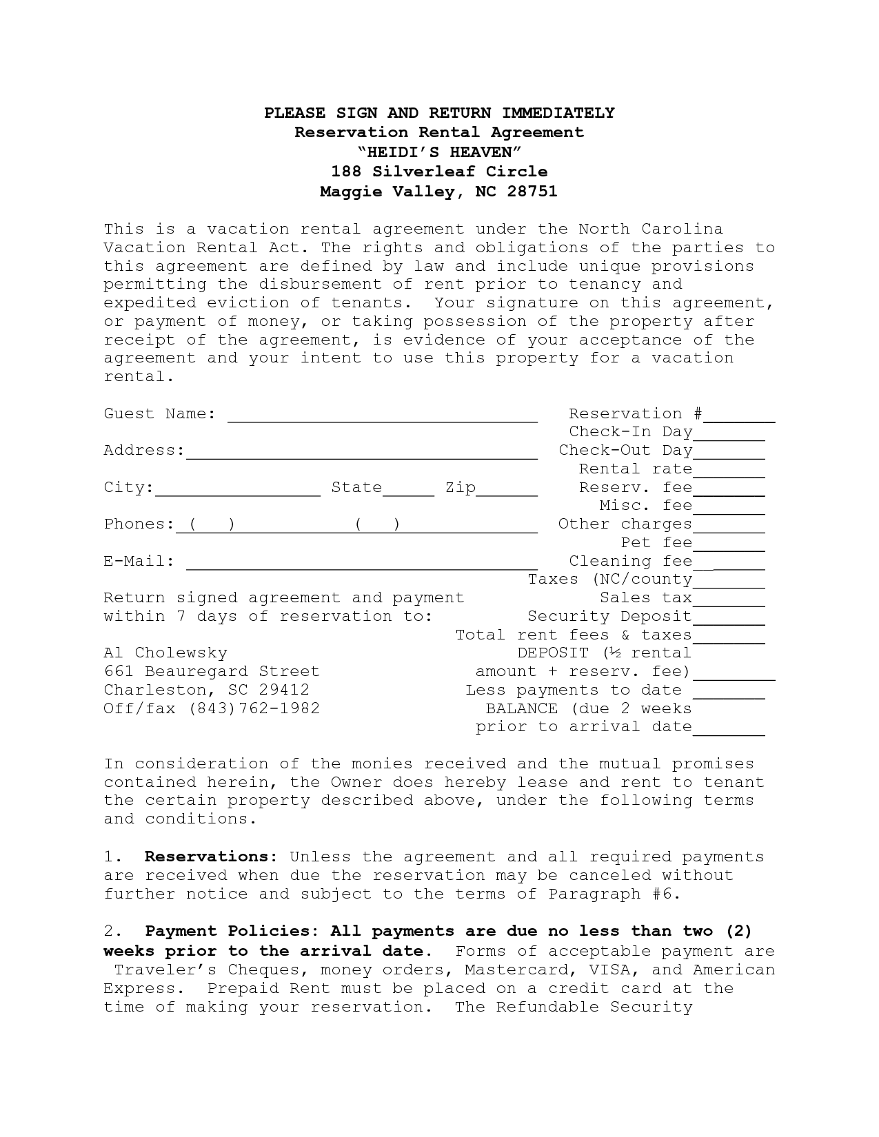 House Lease Agreement Template | House Rental Agreement Contract In North  Carolina