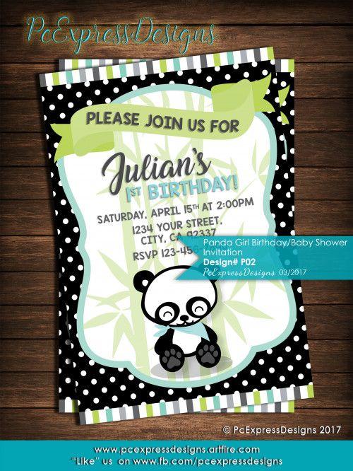 panda boy birthday invitation p02 boy birthdays pinterest
