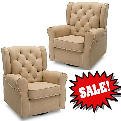 Microfiber Swivel Chair Beige Buttoned Tufted Padded Plush